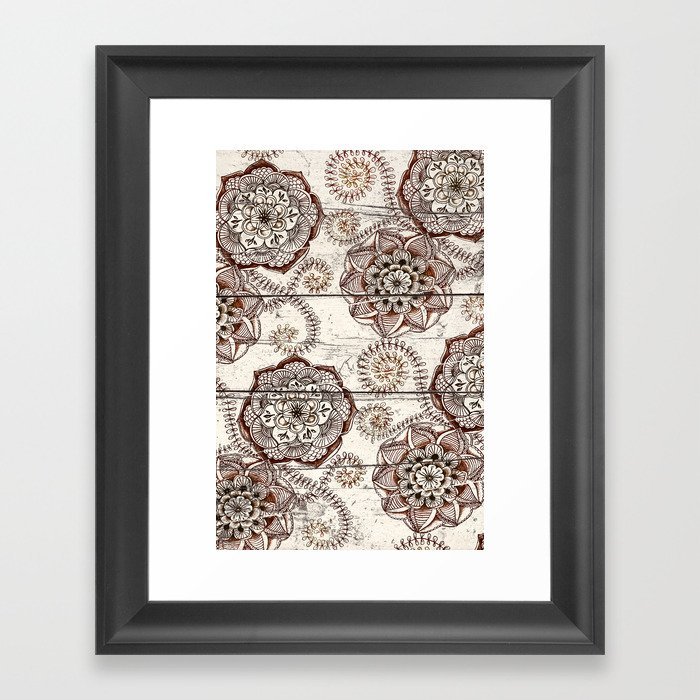 Coffee & Cocoa - brown & cream floral doodles on wood Framed Art Print
