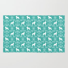 Brussels Griffon floral silhouettes dog breed turquoise gifts Rug