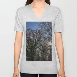 Beautiful day in a winter forest Unisex V-Neck