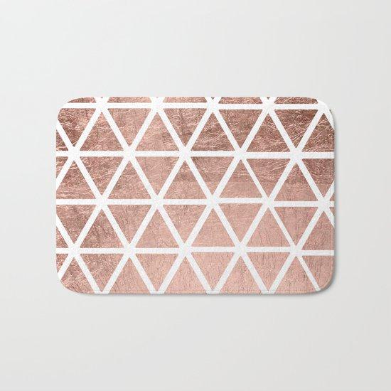 Geometric faux rose gold foil triangles pattern Bath Mat