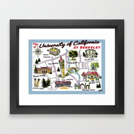 UC at Berkeley cute campus map Framed Art Print