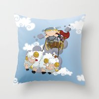 thor Throw Pillows featuring Thor by Alapapaju