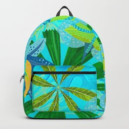 My blue abstract Aloha Tropical Jungle Garden Backpack