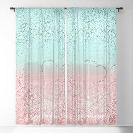Summer Vibes Glitter Heart #1 #coral #mint #shiny #decor #art #society6 Sheer Curtain
