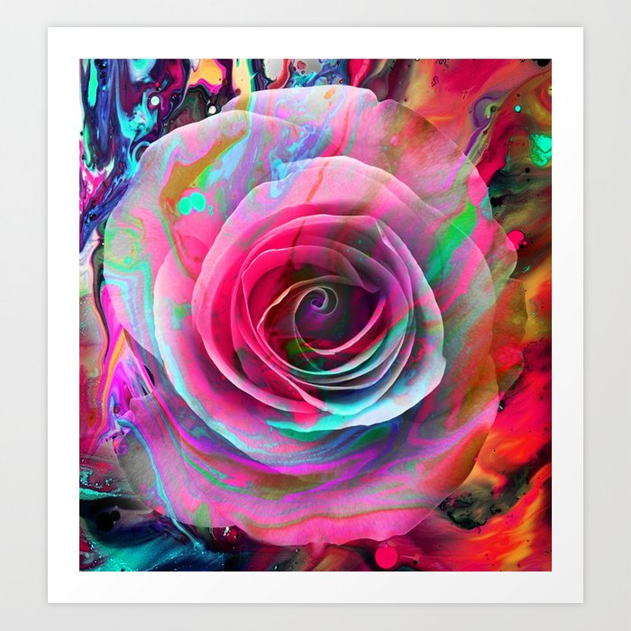 Marble Colored Rose Art Print