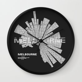 Melbourne Map Wall Clock