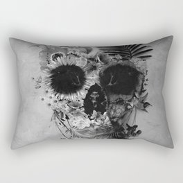 Garden Skull B&W Rectangular Pillow