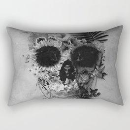 Garden Skull B&W Rectangular Pillow