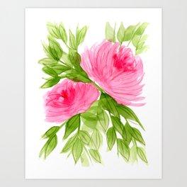 Pink Peonies in Watercolor Art Print