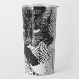 cat in black and white III Travel Mug