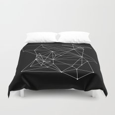 Black Geometric Dots and Lines Duvet Cover