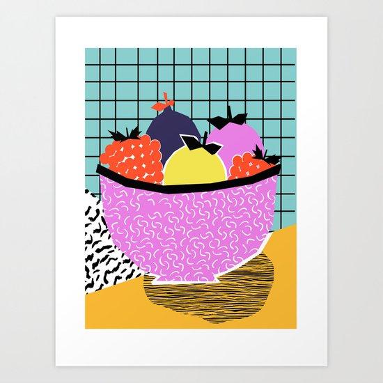 Crucial - modern pop art throwback neon miami memphis design geometric grid fruit food art print Art Print