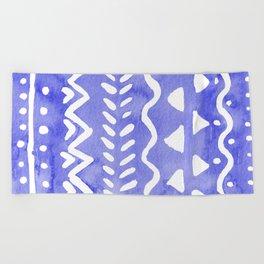 Loose boho chic pattern - ultramarine blue Beach Towel