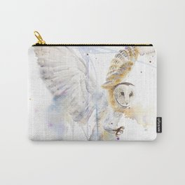 """Watercolor Painting of Picture """"White Owl"""" Carry-All Pouch"""
