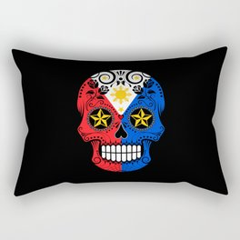 Sugar Skull with Roses and Flag of Philippines Rectangular Pillow