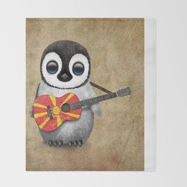 Baby Penguin Playing Macedonian Flag Acoustic Guitar Throw Blanket