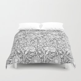"William Morris Floral Pattern | ""Pink and Rose"" in Grey and White Duvet Cover"