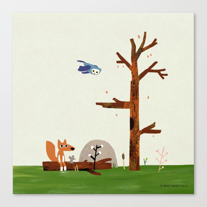 Owl flies by Fox and Mouse on a log in the woods Canvas Print