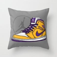 Jordan 1 mid (LA Lakers) Throw Pillow