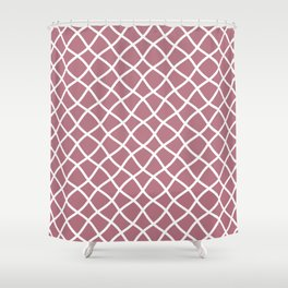 Dusty pink and white curved grid pattern Shower Curtain