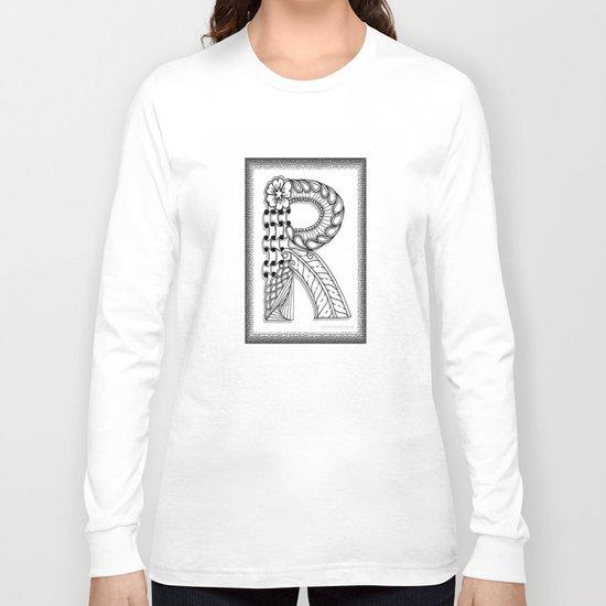 Zentangle R Monogram Alphabet Illustration Long Sleeve T-shirt
