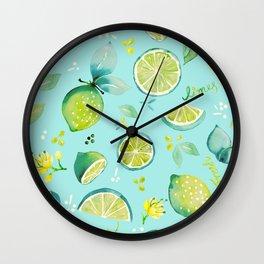 Watercolour Lime Pattern Aqua Wall Clock