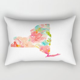 new york map floral state print nyc ny state Rectangular Pillow