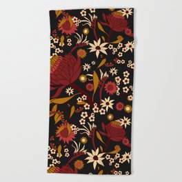 Australian Natives Red Blossom Beach Towel