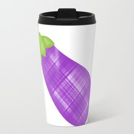 Emoji eggplant in plaid Travel Mug