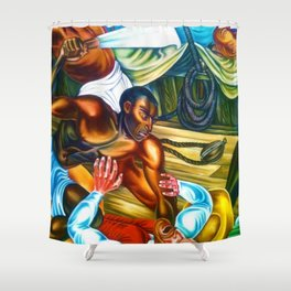 """African American Classical Masterpiece """"Capture African Slave Amistad Revolt"""" by Hale Woodruff Shower Curtain"""