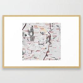 Minimalist Modern Map of Downtown Jerusalem, Israel 2 Framed Art Print