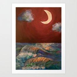 Moonlit Sea + Donation for Marine Conservation Art Print