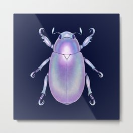 Pearly Holographic Beetle Metal Print