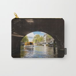 Canal boat going under Amsterdam bridge Carry-All Pouch