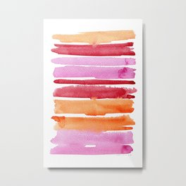 Summer stripes in pink and orange Metal Print