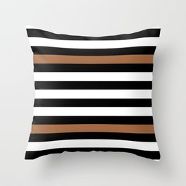 Black and white with brown lines Throw Pillow