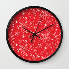 Winter Floral Red Wall Clock