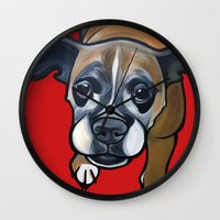 lucy Wall Clocks featuring Lucy by Pawblo Picasso