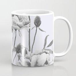 black and white peony i purple background Coffee Mug