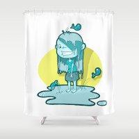 aquarius Shower Curtains featuring Aquarius by Chiara Zava