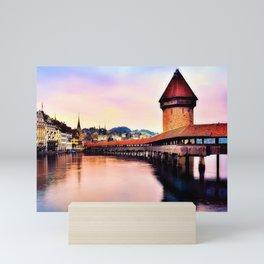 Lucerne, Switzerland Chapel Covered Bridge Mini Art Print
