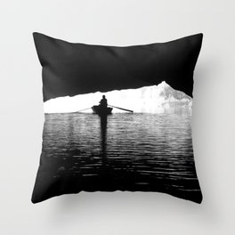 Silhouette Rowing Boat River Cave Tam Coc Vietnam Throw Pillow