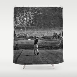 Broken Glass Sky - Black and White Version Shower Curtain