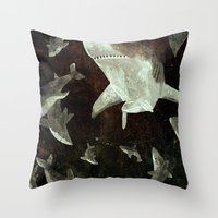 sharks Throw Pillows featuring sharks by Lara Paulussen