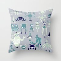 monsters Throw Pillows featuring Monsters! by Fran Court