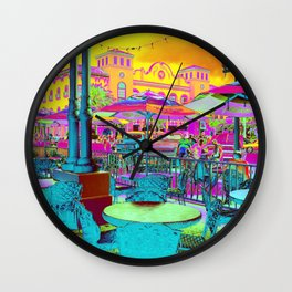 Through Rose Colored Glasses -Neon My Town Wall Clock