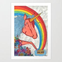 Unicorns love Hamburgers Art Print