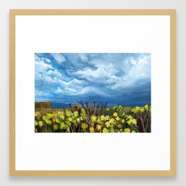 Yellow field with blue sky and flowers Framed Art Print