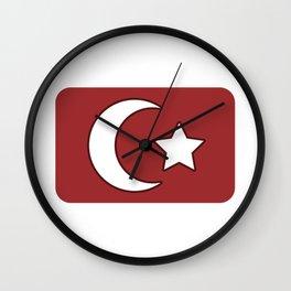 Turkish flag star crescent turkey poison Wall Clock