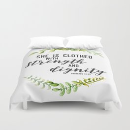 She is Clothed with Strength and Dignity (Proverbs) Duvet Cover